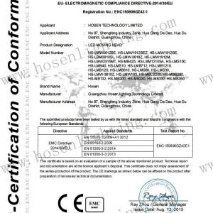 CE certificate led moving head emc