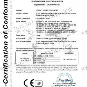CE certificate led moving head lvd