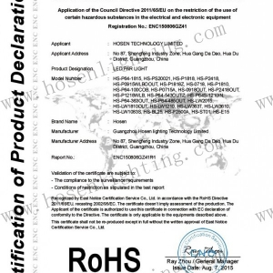 Hosenlighting led par light RoHS certificate